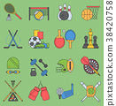 Sport games vector icons flat design ping pong 38420758