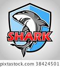 Cartoon shark with blue shield 38424501