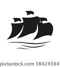Sail icon on white background 38424564