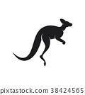Black silhouette of kangaroo jumps on a white back 38424565