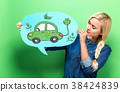 Electric Car with woman holding a speech bubble 38424839
