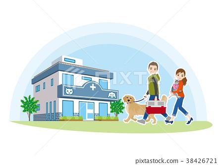 去動物醫院的家庭的例證 38426721