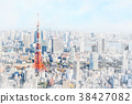 tokyo city skyline with watercolor, sketch effect 38427082