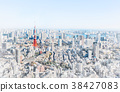 tokyo city skyline with watercolor, sketch effect 38427083