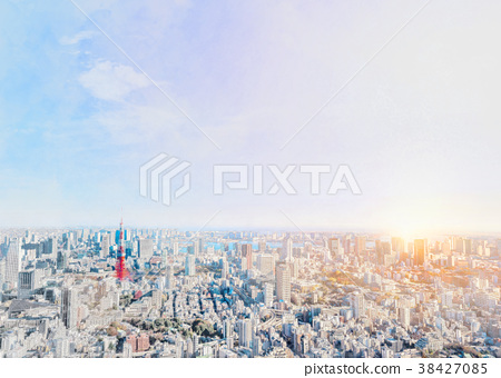 tokyo city skyline with watercolor, sketch effect 38427085