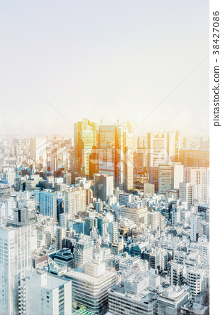 tokyo city skyline with watercolor, sketch effect 38427086