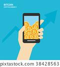 Bitcoin on smartphones with human hand.  38428563