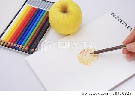 用彩色鉛筆和素描本繪製圖片的圖像(蘋果) 38430825