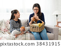 kids sitting on sofa with her mother 38431915