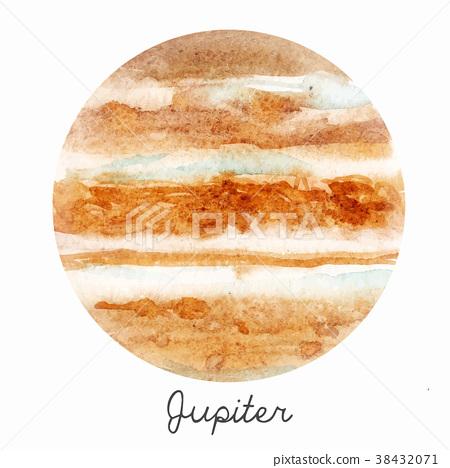 Watercolor Jupiter planet vector illustration 38432071