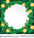 white paper on shamrock leaves and coin 38432428