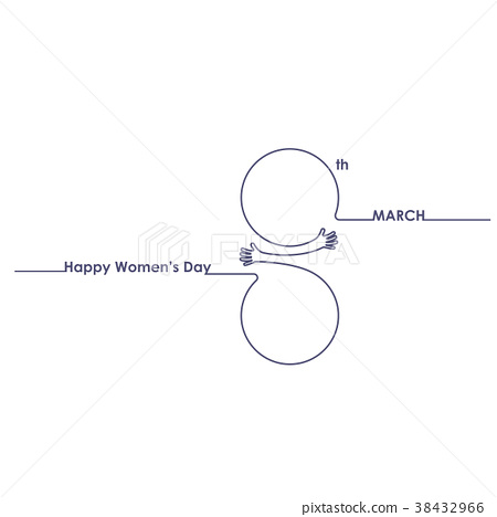 8 March logo with international women's day sign 38432966