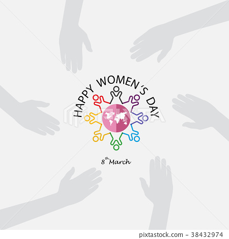 8 March logo with international women's day sign 38432974