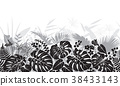 Tropical Leaves Monochrome Pattern 38433143