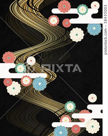 일본식 모던 국화 꽃 유선 (종이 질감) 38435003