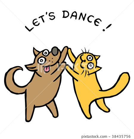 Cute dog and cat dancers. Vector illustration 38435756