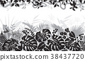 Tropical Black and White Pattern 38437720