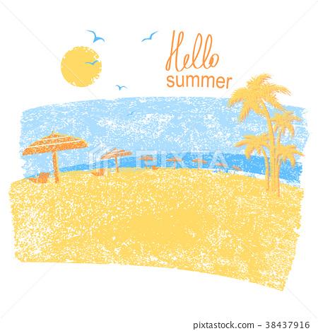 Nature tropical beach with beach umbrellas 38437916