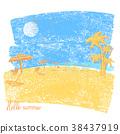 Tropical beach with beach umbrellas and palms 38437919