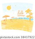 Nature tropical beach with beach umbrellas 38437922
