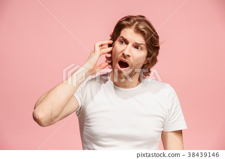 The Ear ache. The sad man with headache or pain on