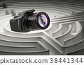 Digital camera inside labyrinth maze. 3D rendering 38441344