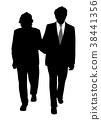 Senior couple walking arm in arm 38441356
