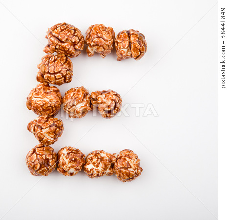 Caramel Pop Corn Alphabet white background  38441849