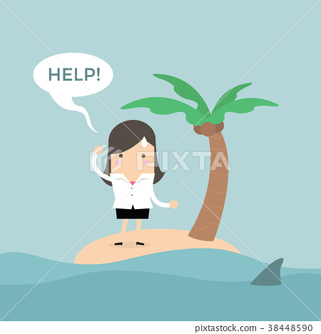 Businesswoman need help on the small island. 38448590