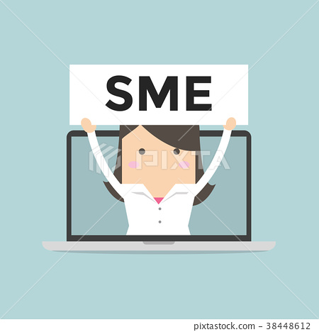Businesswoman holding SME sign in computer. 38448612