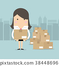 Businesswoman holding a box for shipping. 38448696
