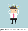 Businessman with stars spinning around his head. 38448763