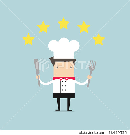 Cook chef with five star rating. 38449536