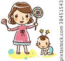 여자, 엄마, 아기 38451543