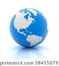 Conceptual 3d illustration. Golf ball world globe 38455679