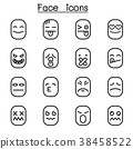 Face icon set in thin line style 38458522
