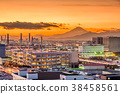Kawasaki, Japan with Factories and Mt. Fuji 38458561