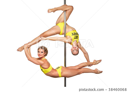 beautiful pole dancers in yellow costumes 38460068