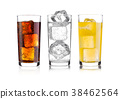 Glasses of cola and orange soda drink and lemonade 38462564