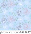 rose pattern blue 38463957