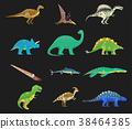 Set of isolated cartoon dinosaur or dino 38464385