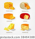 Sliced french and swiss cheese food icons 38464388