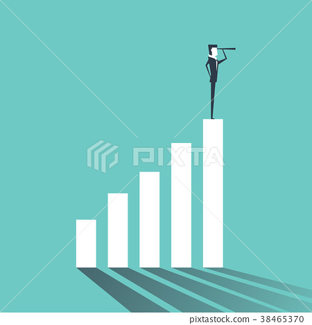 Businessman looking future. Standing on graph. 38465370