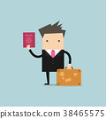 Businessman with a suitcase and passport. 38465575