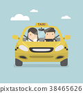 Taxi car and taxi driver with passenger. 38465626