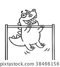 cartoon dinosaur pulls up on transponder. vector 38466156