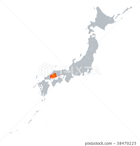 hiroshima, hiroshima prefecture, map - Stock Illustration [38470225 ...