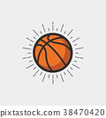 Basketball with sunburst. 38470420