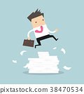 Businessman or manager jumping over obstacles. 38470534