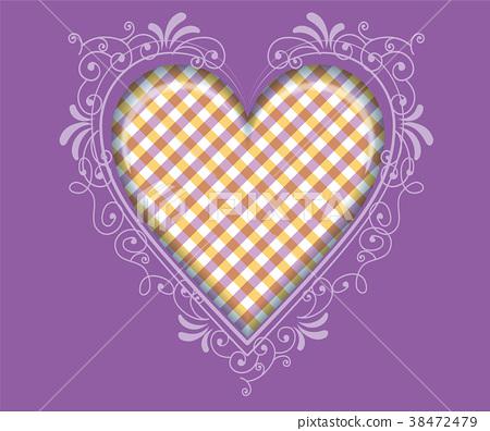 아르누보의 하트 일러스트 체크 무늬 (보라색)   발렌타인 데이 화이트 데이 용 소재 38472479